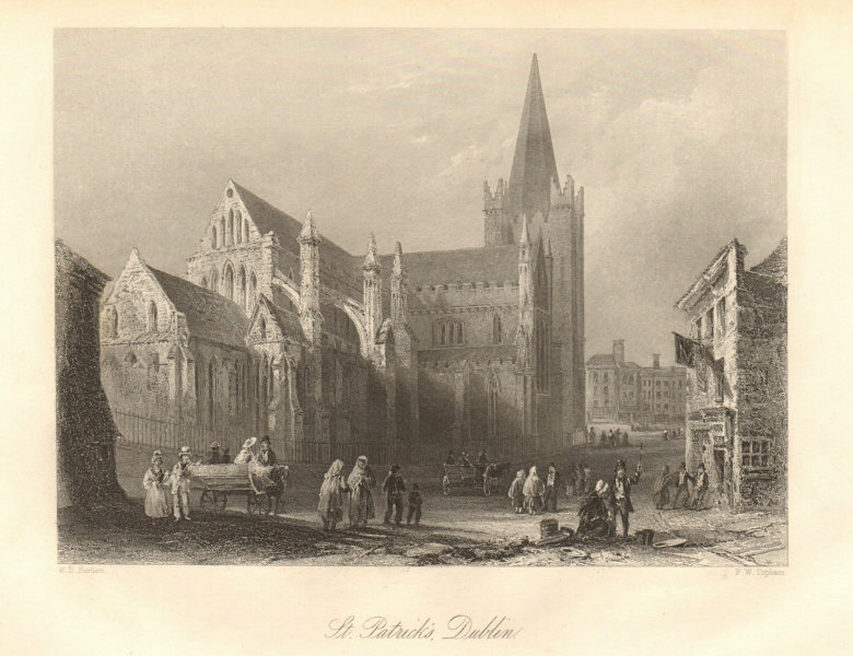 Associate Product St. Patrick's Cathedral, Dublin. Ireland 1843 old antique print picture