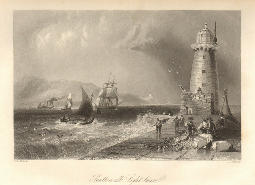 Poolbeg Lighthouse, Great South Wall, Dublin Bay, with Howth Head. Ireland 1843