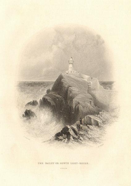The Baily Lighthouse, Howth Head, Dublin Bay, Ireland 1843 old antique print