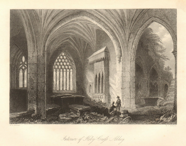 Interior of the Holy Cross Abbey, Holycross, Tipperary. Ireland 1843 old print