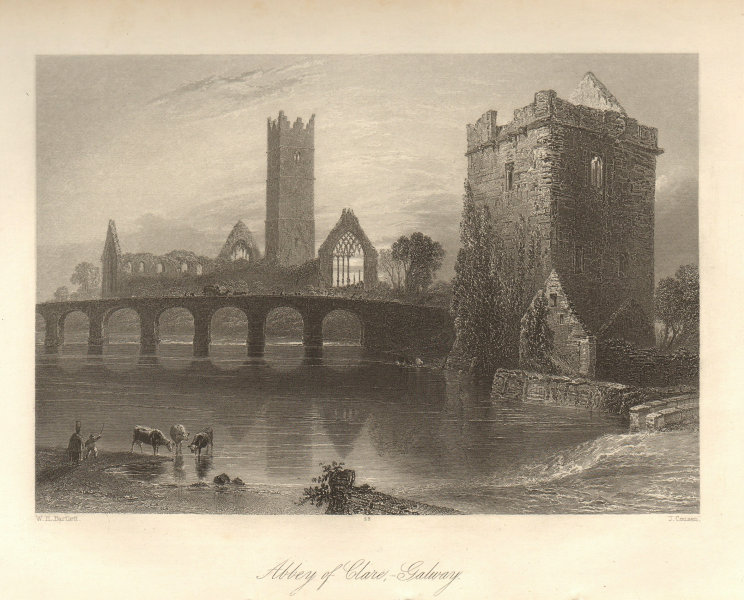 Abbey of Clare, Galway. Claregalway Friary, Ireland 1843 old antique print
