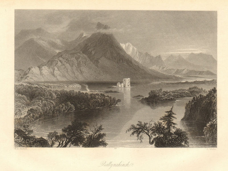 Ballynahinch, County Galway. Ireland 1843 old antique vintage print picture