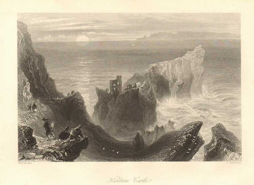 Kenbane Castle, County Antrim. Ireland Ilster 1843 old antique print picture