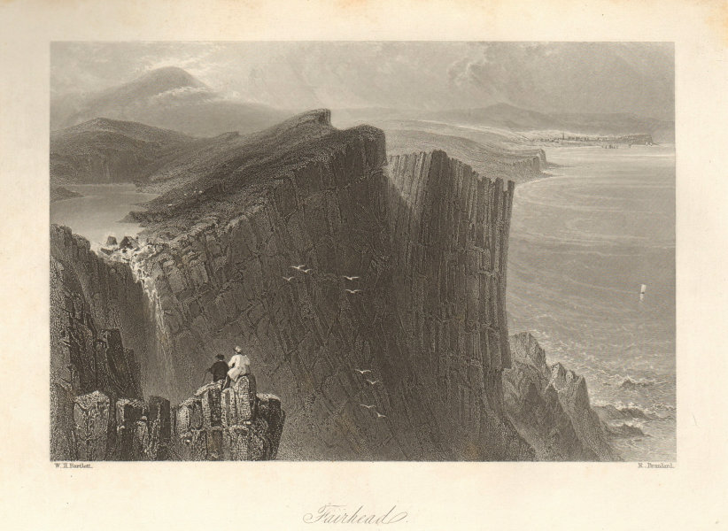 Fair Head, County Antrim. Northern Ireland. Ulster. Benmore 1843 old print