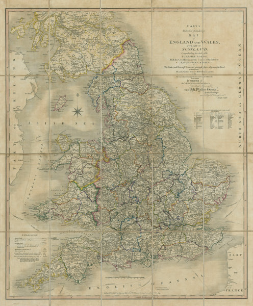 Associate Product 'Cary's reduction of his large map of England & Wales'. Turnpikes canals &c 1837