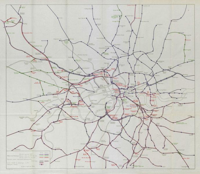 London Main Line Railway development 1900-1930 Electrification STANFORD 1931 map