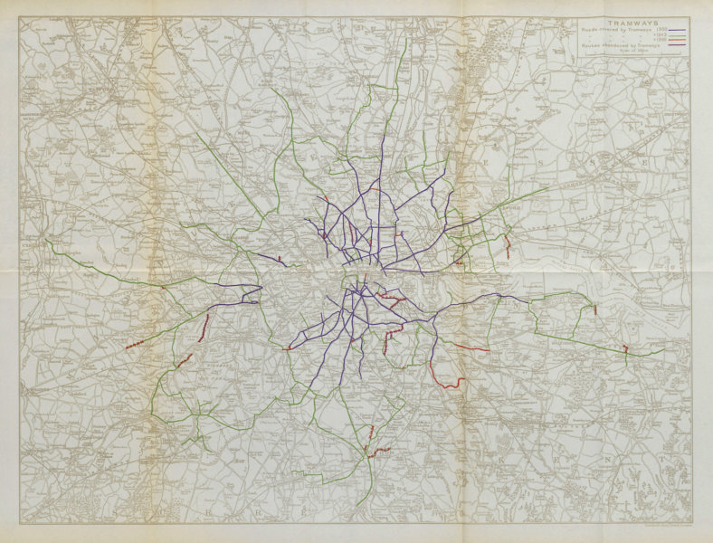 Associate Product London Tramways. Development 1900-1930. STANFORD 1931 old vintage map chart