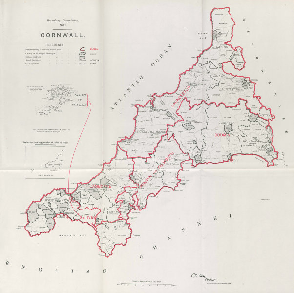 Associate Product Cornwall Parliamentary County. BOUNDARY COMMISSION. Close 1917 old antique map