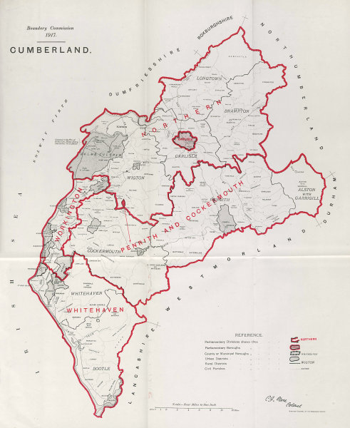 Associate Product Cumberland Parliamentary County. Cumbria. BOUNDARY COMMISSION. Close 1917 map