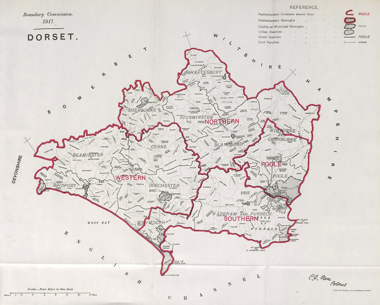 Associate Product Dorset Parliamentary County. BOUNDARY COMMISSION. Close 1917 old antique map
