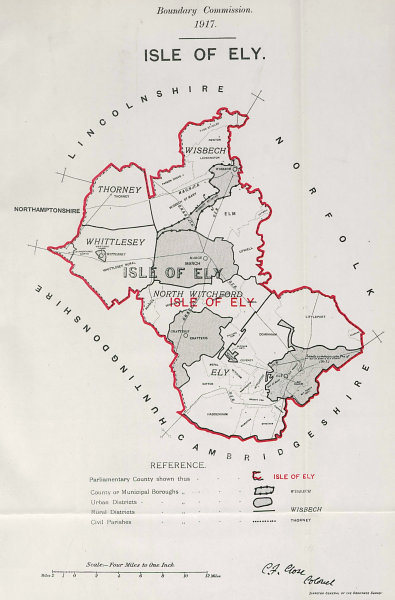 Associate Product Isle of Ely Parliamentary County. Cambs. BOUNDARY COMMISSION. Close 1917 map