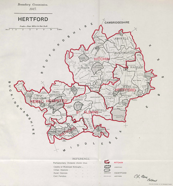 Associate Product Hertfordshire Parliamentary County. BOUNDARY COMMISSION. Close 1917 old map