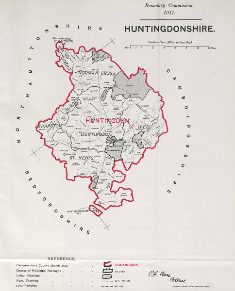 Associate Product Huntingdonshire Parliamentary County. BOUNDARY COMMISSION. Close 1917 old map