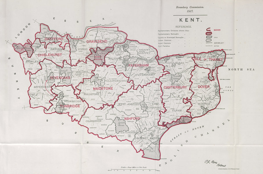 Associate Product Kent Parliamentary County. BOUNDARY COMMISSION. Close 1917 old antique map