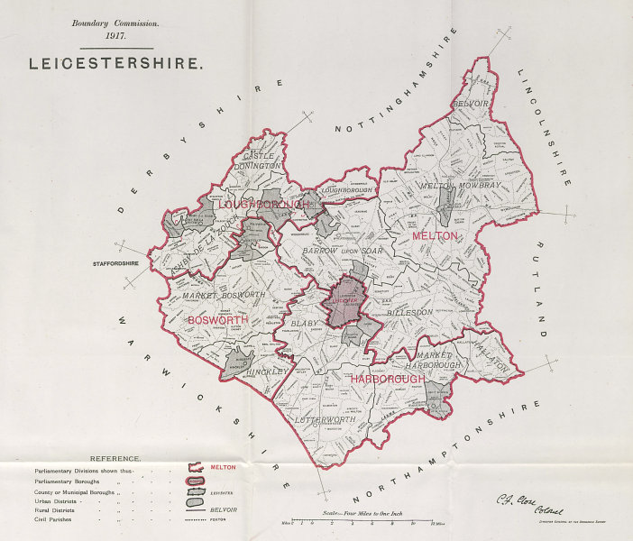Associate Product Leicestershire Parliamentary County. BOUNDARY COMMISSION. Close 1917 old map