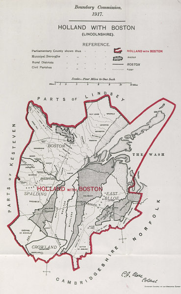 Associate Product Holland with Boston (Lincs) Parliamentary County. BOUNDARY COMMISSION 1917 map