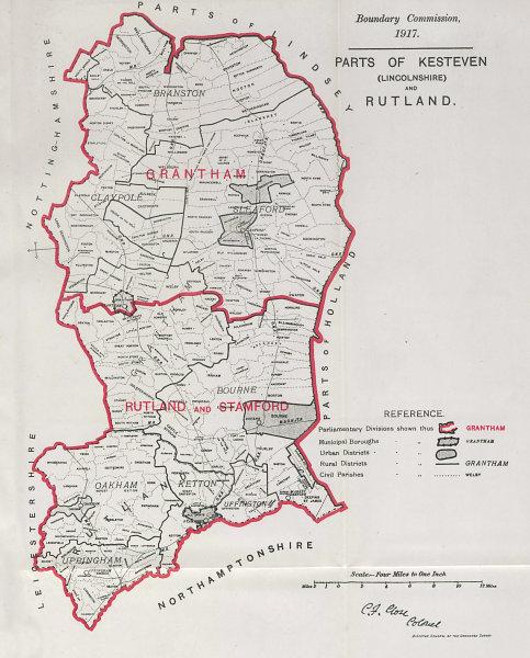 Associate Product Kesteven (Lincs) & Rutland Parliamentary County. BOUNDARY COMMISSION 1917 map