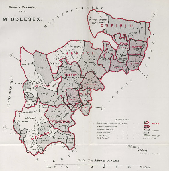 Associate Product Middlesex Parliamentary County. BOUNDARY COMMISSION. Close 1917 old map