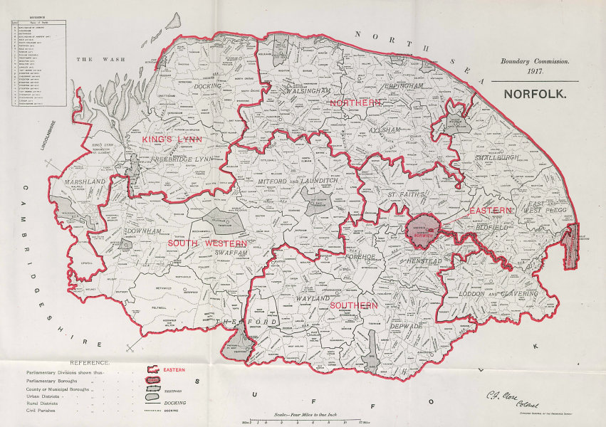 Associate Product Norfolk Parliamentary County. BOUNDARY COMMISSION. Close 1917 old antique map
