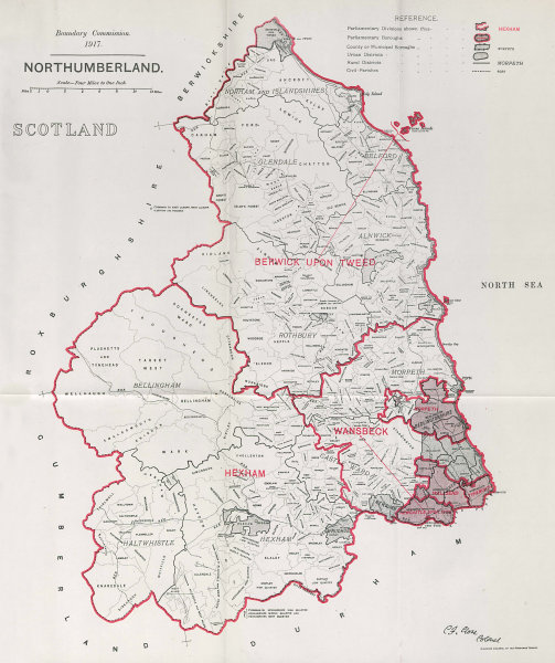 Associate Product Northumberland Parliamentary County. BOUNDARY COMMISSION. Close 1917 old map