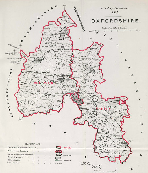 Associate Product Oxfordshire Parliamentary County. BOUNDARY COMMISSION. Close 1917 old map