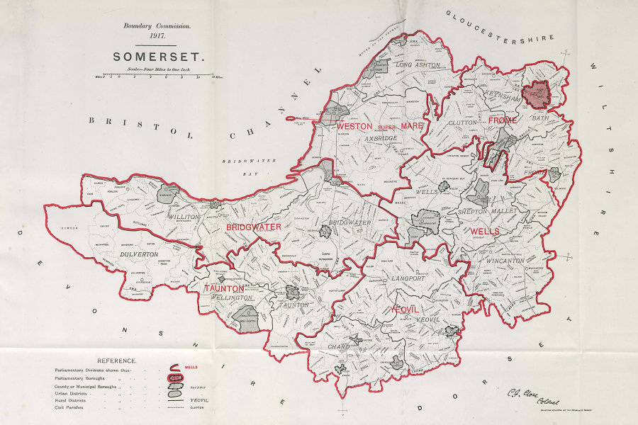 Associate Product Somerset Parliamentary County. BOUNDARY COMMISSION. Close 1917 old antique map