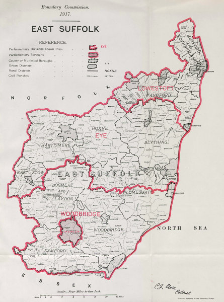 Associate Product East Suffolk Parliamentary County. BOUNDARY COMMISSION. Close 1917 old map
