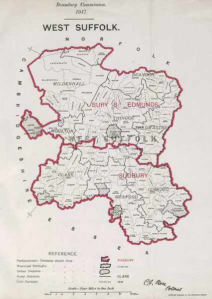 Associate Product West Suffolk Parliamentary County. BOUNDARY COMMISSION. Close 1917 old map