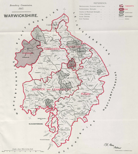 Associate Product Warwickshire Parliamentary County. BOUNDARY COMMISSION. Close 1917 old map
