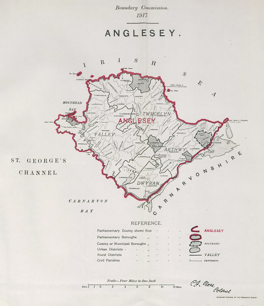 Associate Product Anglesey Parliamentary County. BOUNDARY COMMISSION. Close 1917 old antique map