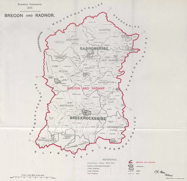 Associate Product Brecon & Radnor Parliamentary County. Wales. BOUNDARY COMMISSION. Close 1917 map