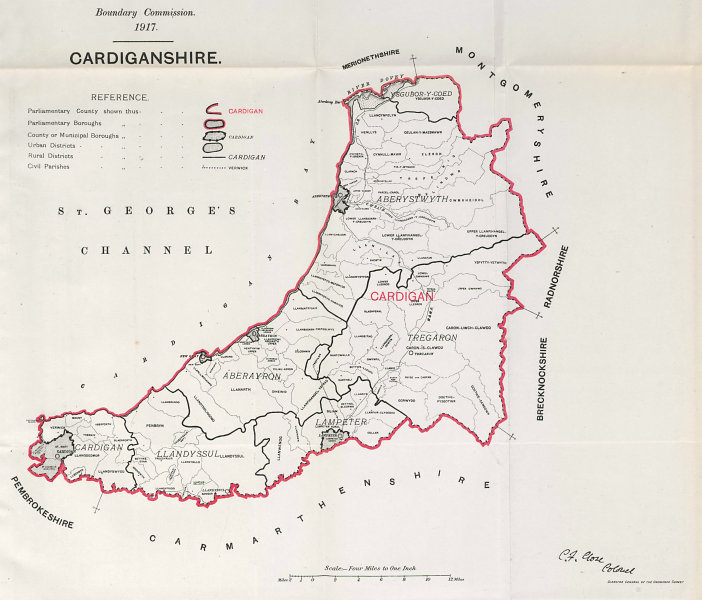 Associate Product Cardiganshire Parliamentary County. Wales. BOUNDARY COMMISSION. Close 1917 map