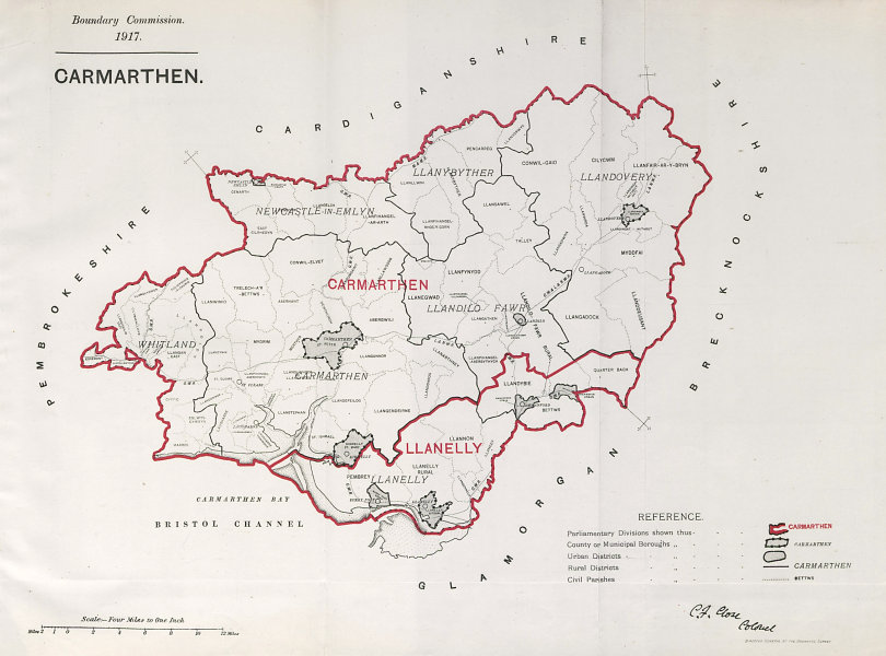 Associate Product Carmarthen Parliamentary County. Wales. BOUNDARY COMMISSION. Close 1917 map