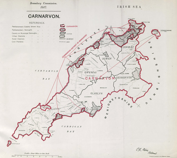 Associate Product Carnarvon Parliamentary County. Wales. BOUNDARY COMMISSION. Close 1917 old map