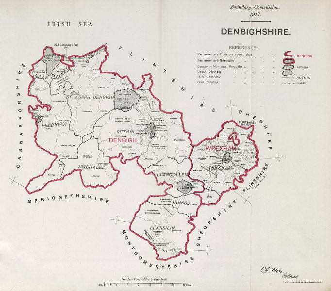 Associate Product Denbighshire Parliamentary County. Wales. BOUNDARY COMMISSION. Close 1917 map