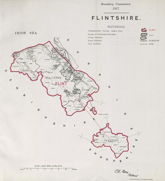 Associate Product Flintshire Parliamentary County. Wales. BOUNDARY COMMISSION. Close 1917 map
