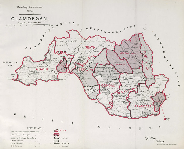 Associate Product Glamorgan Parliamentary County. Wales. BOUNDARY COMMISSION. Close 1917 old map
