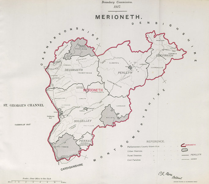 Associate Product Merioneth Parliamentary County. Wales. BOUNDARY COMMISSION. Close 1917 old map