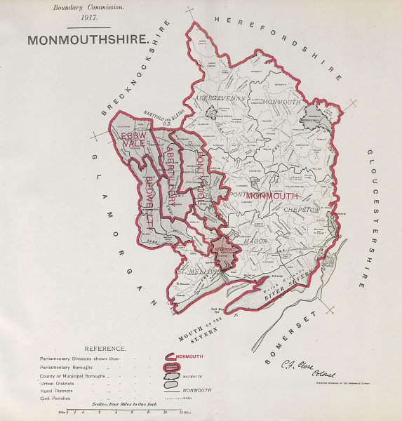 Associate Product Monmouthshire Parliamentary County. BOUNDARY COMMISSION. Close 1917 old map