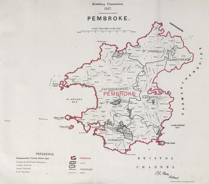 Associate Product Pembroke Parliamentary County. Wales. BOUNDARY COMMISSION. Close 1917 old map
