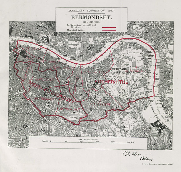 Associate Product Bermondsey Parliamentary Borough. Rotherhithe. BOUNDARY COMMISSION 1917 map