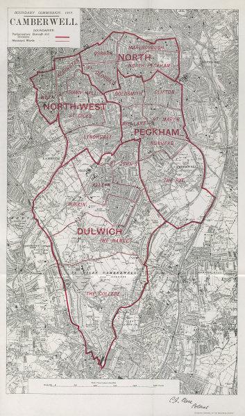 Associate Product Camberwell Parliamentary Borough. Peckham Dulwich. BOUNDARY COMMISSION 1917 map