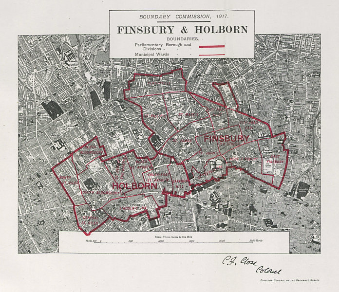 Associate Product Finsbury & Holborn Parliamentary Borough Bloomsbury BOUNDARY COMMISSION 1917 map