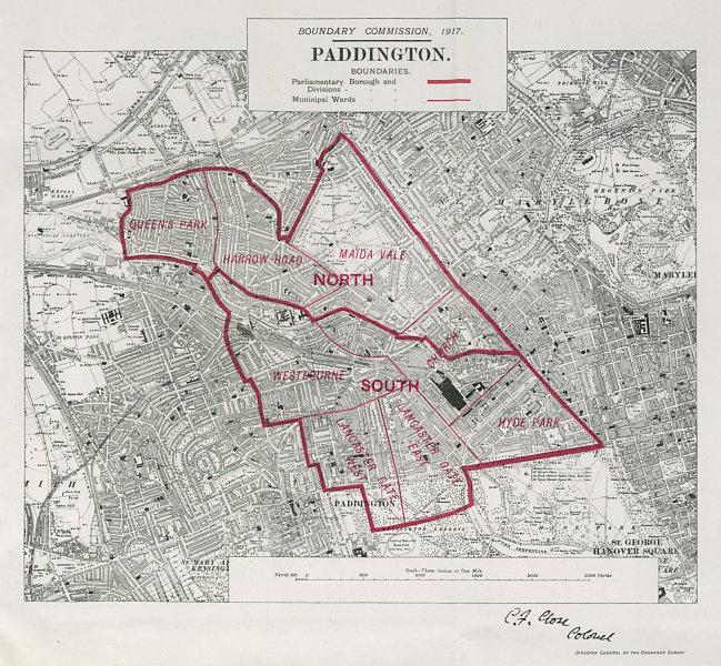 Associate Product Paddington Parliamentary Borough. Bayswater. BOUNDARY COMMISSION 1917 old map