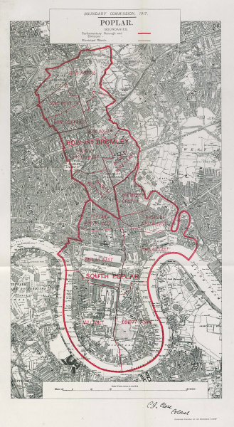 Associate Product Poplar Parliamentary Borough. Isle of Dogs Bow. BOUNDARY COMMISSION 1917 map