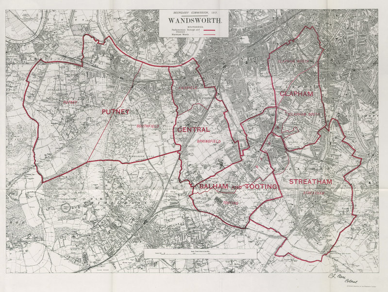 Associate Product Wandsworth Parliamentary Borough. Putney Clapham. BOUNDARY COMMISSION 1917 map