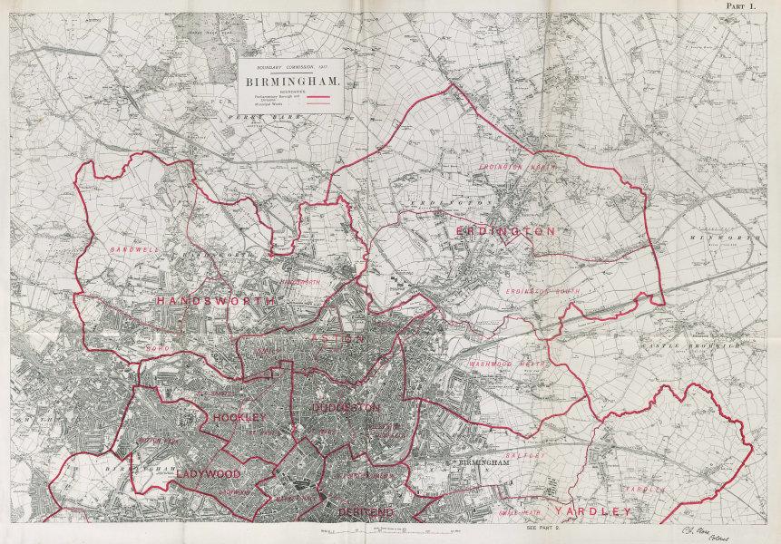 Associate Product Birmingham North Parliamentary Borough. Handsworth BOUNDARY COMMISSION 1917 map