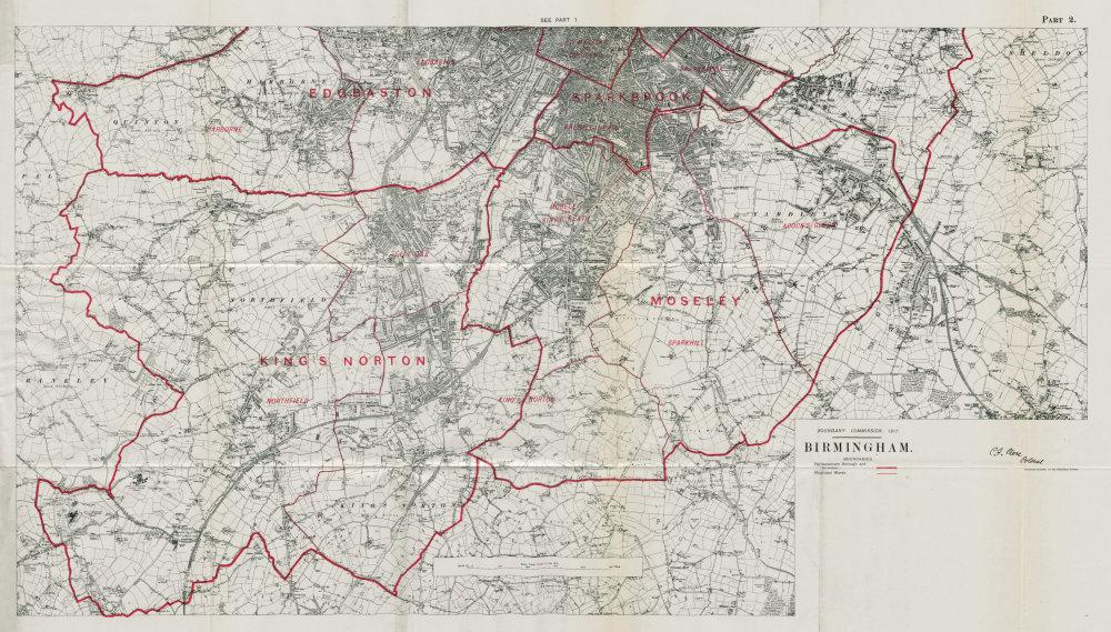 Associate Product Birmingham South Parliamentary Borough. Edgbaston. BOUNDARY COMMISSION 1917 map