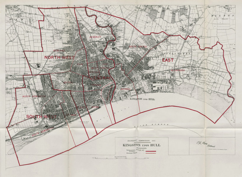 Associate Product Kingston Upon Hull Parliamentary Borough. BOUNDARY COMMISSION. Close 1917 map