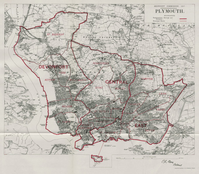 Associate Product Plymouth Parliamentary Borough. Devonport. BOUNDARY COMMISSION. Close 1917 map